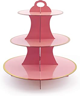 iFavor123 Round Solid PINK Gold Trim Premium Sturdy Cardboard Cupcake Stand Dessert Tower Treat Stacked Pastry Serving Platter Food Display