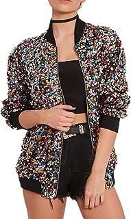 Women's Sequin Fitted Long Sleeve Zipper Blazer Bomber...