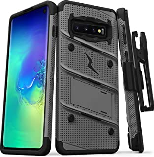 ZIZO Bolt Series Galaxy S10 Case | Military-Grade Drop Protection w/Kickstand Bundle Includes Belt Clip Holster + Lanyard Designed for 6.1 Samsung S 10 Metal Gray Black