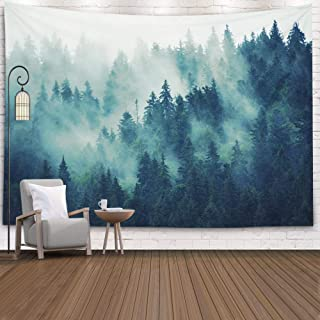 Bjyhiyh Misty Forest Tapestry Wall Hanging Nature Landscape