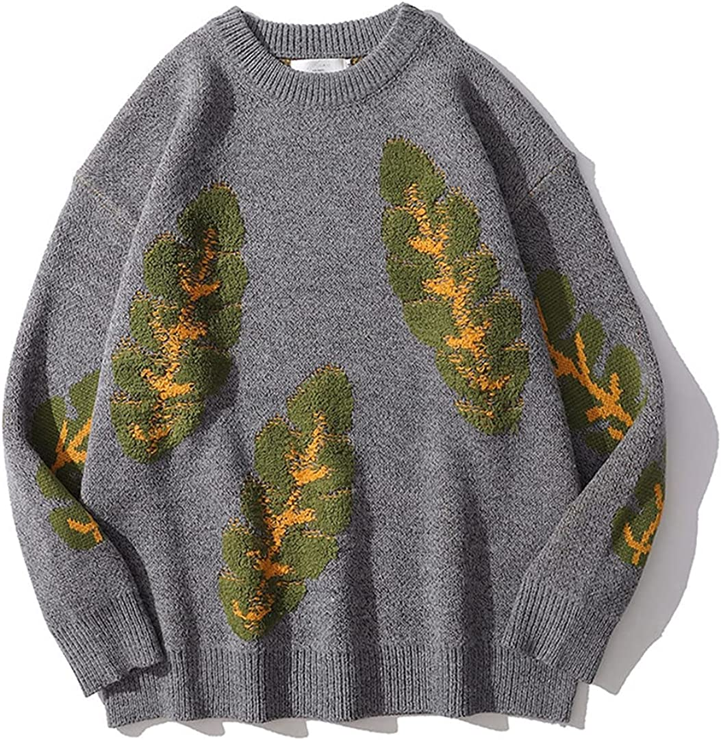 Harajuku Leaves Graphic Knitted Sweater Men Plant Print Vintage Sweater Pullover