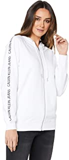 Calvin Klein Jeans Women's Institutional Raglan Zip Up Sweatshirt, Bright/White, S