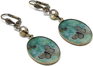 Orecchini retro resina Farfalla verde marrone ottone bronzo perline vetro 18x25mm regalo personalizzato noel amico madri g...
