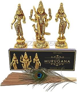 Vedic Vaani Murugan and His Two Wives Valli and Devasena Idols in Brass