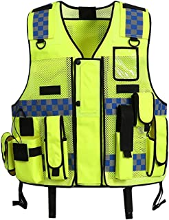 Liveinu High Visibility Vest Heavy Duty Safety Vest Breathable with Pockets High Reflective Vest for Men Neon Green style 1 M