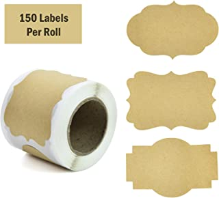 """Timoo 150 Pcs Label Stickers, 2"""" x 3""""Self-Adhesive Kraft Paper Labels for Jars, Christmas Gift, Name Tags, Candle Can, Mason Jars & More (3 Style)"""