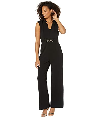 Tahari by ASL Notch Neck Stretch Crepe Jumpsuit with Horse Bit Hardware At Waist (Black) Women