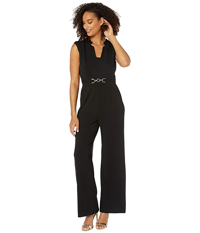 Tahari by ASL  Notch Neck Stretch Crepe Jumpsuit with Horse Bit Hardware At Waist (Black) Womens Jumpsuit and Rompers One Piece