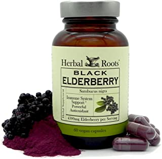 Herbal Roots Black Elderberry Capsules - Extra Strength 4,300mg - Made with Organic Elderberries Sambucus Negras - Immune ...