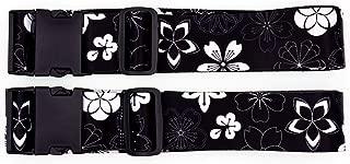 Teeoff Luggage Straps Suitcase Belts Travel Bag Accessories Adjustable (One_Size, Sakura Black White - 2 Pack)