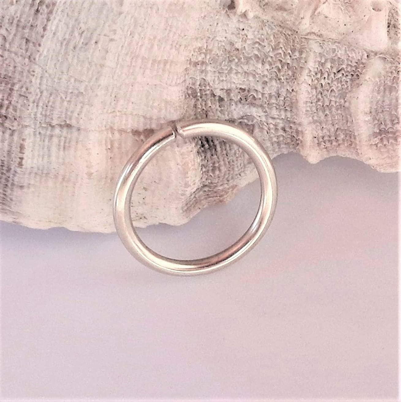 14K Solid White Gold Septum Ring,Nose Ring,Daith Piercing Ring,Cartilage,Helix,Tragus,Ear Hoop Earring