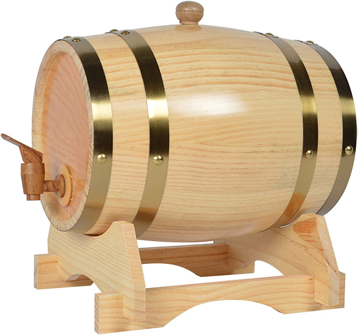 Wooden Barrel Individual Oak Barrel for Whiskey or Wine Used to Store Alcohol and Home Decoration,Beige ,1.6L Stopper and Wooden Stand Black Retro Bucket with Wood Tap