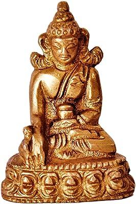 Purpledip Mini Idol Lord Buddha: Solid Brass Metal Statue for Home Temple or Car Dashboard (11386)