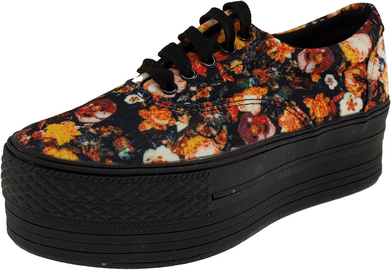 Maxstar Flower Printed Oxford Boat Dark Platform Sneakers shoes