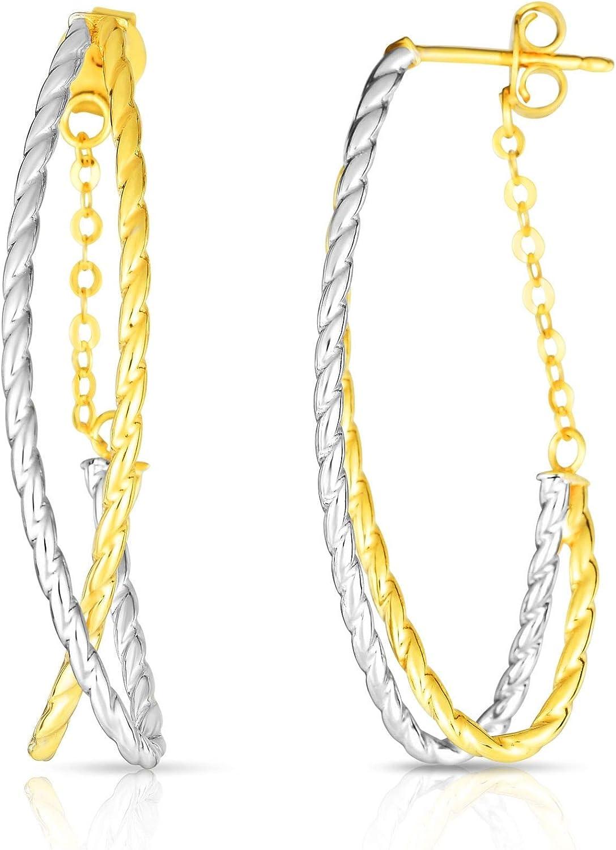 14K Yellow & White Gold Finish Earrings, Push Back Clasp