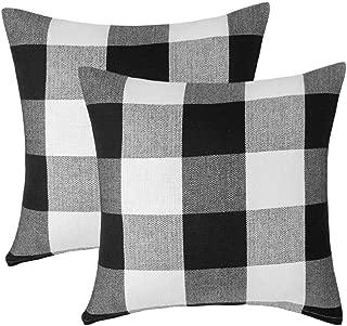 Vanky Set of 2, Retro Farmhouse Tartan Buffalo Checkers Plaid Cotton Linen Pastoral Decorative Throw Pillow Case Indoor Outdoor Cushion Cover Pillowcase for Sofa 18 x 18 inch