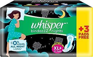 Whisper Bindazz Night Sanitary pads - XL+ (27+3) Pcs '