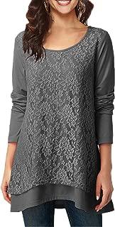 Women Blouse Tops Long Sleeve T Shirt Layered Elegant Tunic Lace Tops