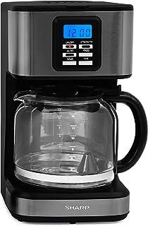 Sharp Filterkaffeemaschine SA-BC2002A / 900 W / 6 Programme / Warmhaltefunktion bis 30 Minuten / Zeitschaltuhr / LCD-Display / Edelstahl dunkel gebürstet