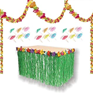 PMLAND Luau Party Decoration Set - Grass Table Skirt with Hibiscus Flowers, 100 Feet Long Lei Garland and Bulk 144 Pieces Paper Cocktail Umbrellas