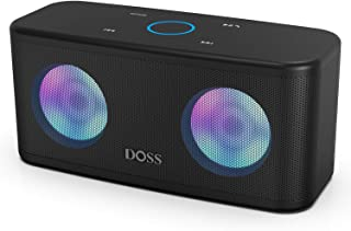 DOSS SoundBox Plus Portable Wireless Bluetooth Speaker with HD Sound and Deep Bass, Wireless Stereo Paring, Built-in Mic, 20H Playtime, Wireless Speaker for Phone, Tablet, TV and More.-Black