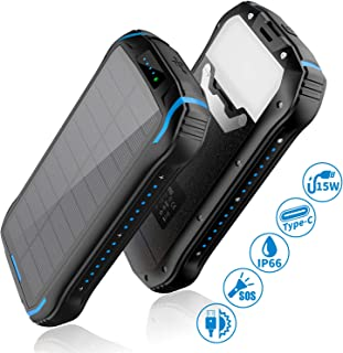 Solar Charger 26800mAh, Aonidi Solar Power Bank Portable Charger Battery Pack with 3 Outputs & 2 Inputs(Micro USB & Type-C) Huge Capacity Backup Battery Compatible Smartphone,Tablet and More
