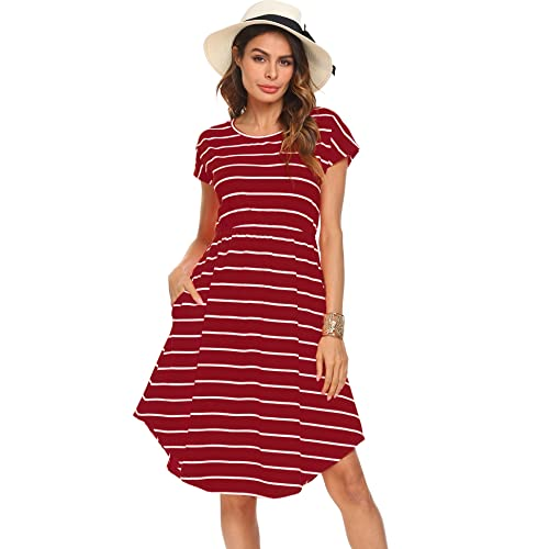 ad77571479a Halife Women s Summer Casual Stripe Elastic Waist Loose Beach Midi Dress