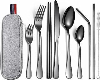 AVEE Vaisselle portée en Acier Inoxydable Noir Fourchette cuillère Couteau à dîner Pique-Nique Ensemble Portable Arts de l...