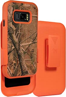 Case with Clip for Galaxy XCover FieldPro, [Orange Camouflage] Tree Leaf Real Woods Camo Cover with Kickstand [Rotating/Ra...