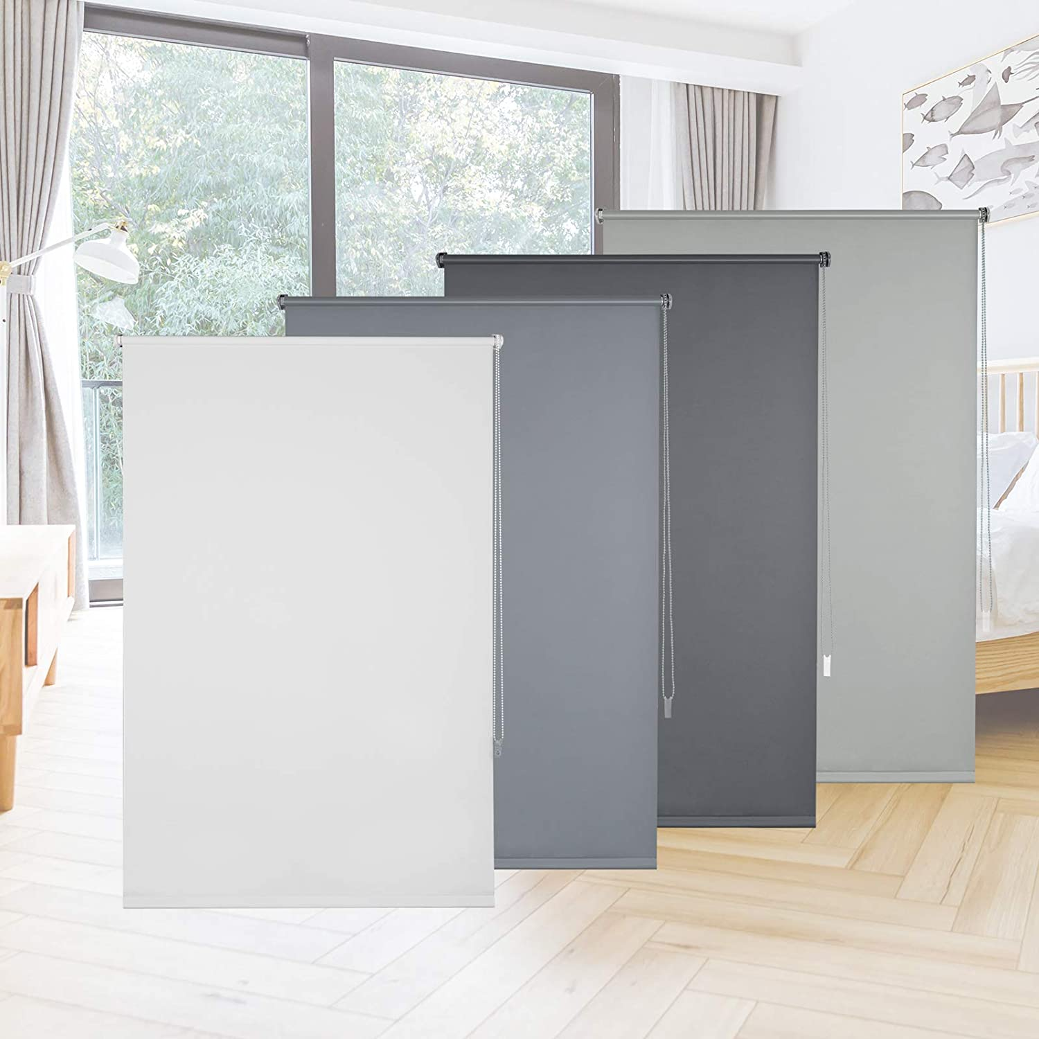 EUGAD Blackout Roller Blind for Window No Drilling Blind with Fittings and Coating in Same Colour Grey 100 x 160 cm