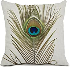 Peacock Feather Decorative Throw Pillow Covers Cotton Linen Square Cushion Covers Feather Pillow Cases for Couch Sofa Home Decor 18x18 Inches