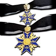 Replicamilitarymedals Grand Pour Le Merite + Classic one 24k Gold Plated Cross Medal & Oak Leaves Blue Max + Ribbon Copy