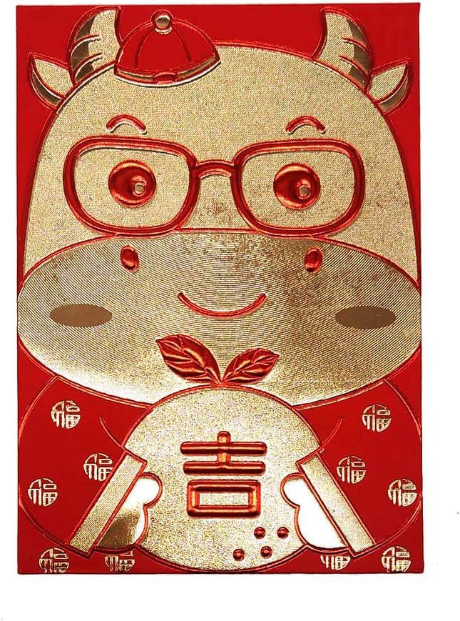 2021 Chinese New Year Creative Red Envelope Money Pocket Spring Festival Envelope Baby calf-36 Pcs