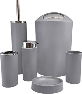 Grey Bathroom Accessories Set 6pc, Modern Bathroom Decor, Home Decor, Bathroom Trash Can, Toothbrush Holder, Soap Dispenser, Toilet Brush and Holder,Soap Dish,Tumbler Cup,Bathroom Storage,Garbage Can