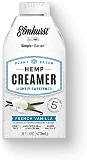 Elmhurst Milked French Vanilla Hemp Non Dairy Coffee Creamer 16 Ounce with Only 5 Ingredients and Vegan (Pack of 6)