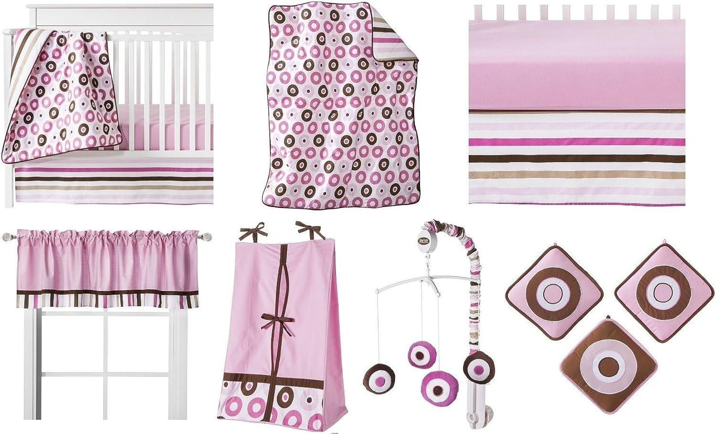 Bacati Modern Dots Stripes Pink Chocolate 10 Piece Crib Set