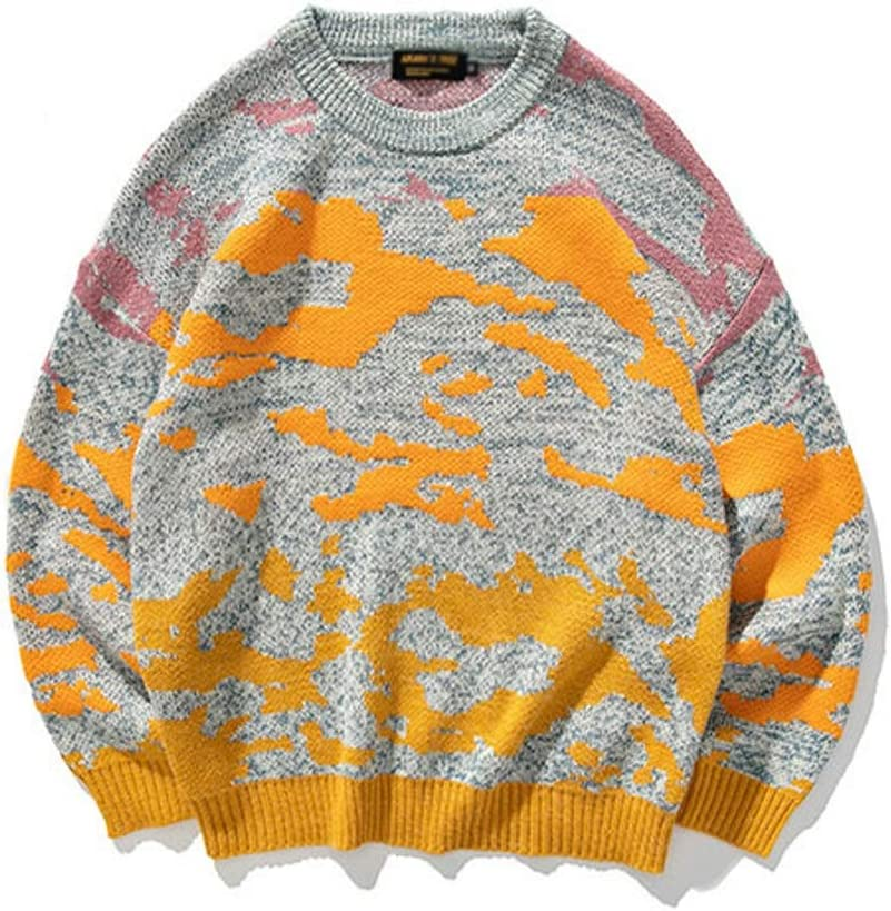 TWDYC Youth Men Casual Winter Knitted Sweater Pullover Mens O-Neck Wool Sweater Male Oversized Casual Clothes (Color : Yellow, Size : L-length-70CM)