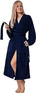 Albornoz para mujer, algodón turco suave, kimono de rizo