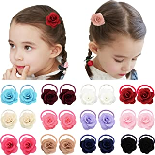 Elesa Miracle 12 Pairs Baby Girls Hair Bow Elastic Ties Mini Bow Hair Elastics