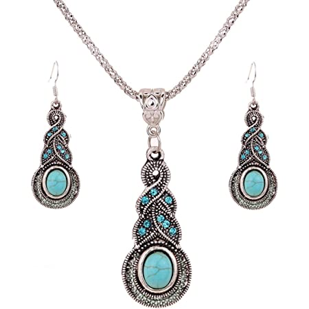 Regalo de la joyería de plata tibetana de la turquesa Yazilind Encanto cristalino de la mariposa del corazón pendientes del collar para la Mujer