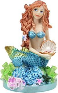 """Ebros 4.5"""" Tall Colorful Nautical Ocean Mermaid Mergirl Ariel with Pearl Shell and Blue Tail Sitting On Corals Statue Unde..."""