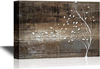 wall26 Abstract Tree Canvas Wall Art - Leaves Blown Away by Wind from White Tree on Vintage Wood Style Background - Gallery Wrap Modern Home Decor | Ready to Hang - 32x48 inches