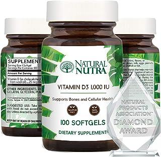 Natural Nutra Supreme Vitamin D3 1000 IU Softgels, Supplement for Immune Support, Sunshine Vitamin, Bone an...