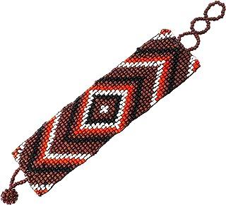Bijoux De Ja Handmade Vivid Color Seed Beaded Panel Wrap Bracelet 6.5-8 inches