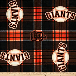 Fabric Traditions MLB Fleece San Francisco Giants Plaid Fabric by The Yard, Black/Orange