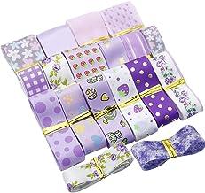 "David Angie 17 Yard Grosgrain Satin Organza Fabric Ribbon Set, 1"" 5/8"" Purple Ribbon Assortment, Solid Color Ribbon, for W..."