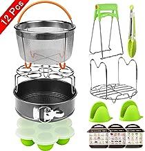 Aiduy 12 Pieces Pressure Cooker Accessories Set Compatible with Instant Pot 6,8Qt-Steamer Basket,Non-stick Springform Pan,Egg Bites Mold, Egg Rack, Steamer Trivet, Kitchen Tongs,3 Cheat