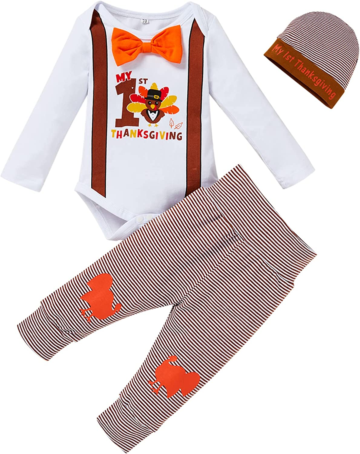 Newborn Baby Boy My 1st Thanksgiving Clothes Set Gentleman Turkey Romper Striped Pants with Hat 3PCS Outfits