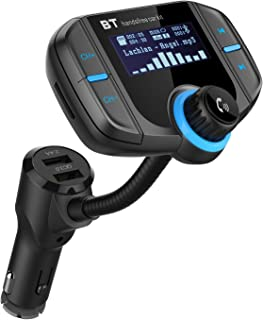 FM Transmitter, AGPtek Bluetooth 4.2 Wireless in-Car Car Kit Radio Adapter with QC 3.0 USB Fast Car Charger, Supports 3.5mm Audio Cable & TF Card Play, 1.65 Inch Large Screen & Super Bass