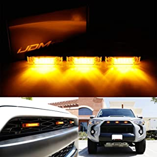 iJDMTOY 3pc Amber LED Center Grille Marker Lights For 2014-up Toyota 4Runner or 2012-up Toyota Tacoma TRD Pro (Amber Lens, 6-LED, Come w/Wiring and Hardware)
